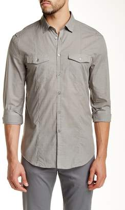 John Varvatos Military Plaid Long Sleeve Trim Fit Shirt