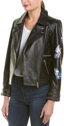 Zadig & Voltaire Kawai Paint Butterfly Leather Jacket