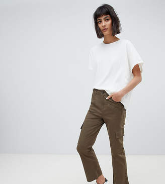 Asos DESIGN kick flare stretch pants with combat pockets in khaki