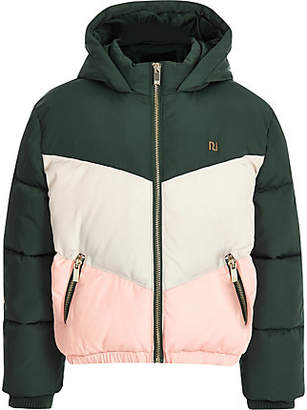 River Island Girls green color block hooded puffer coat