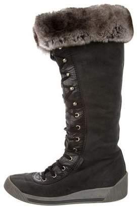 Marc Jacobs Fur-Trimmed Suede Lace-Up Boots