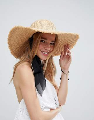 Asos Natural Straw Floppy Hat with Chin Tie And Size Adjuster