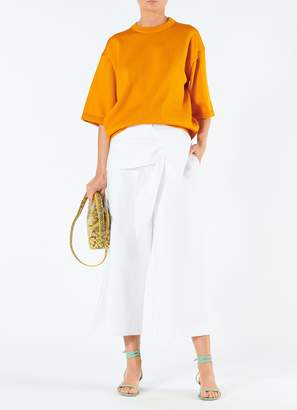 Tibi Compact Cotton Demi Cropped Pants with Removable Tie