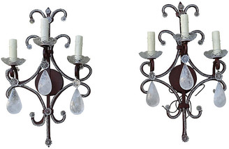 One Kings Lane Vintage Wrought Iron Rock Crystal Sconces - Set of 2