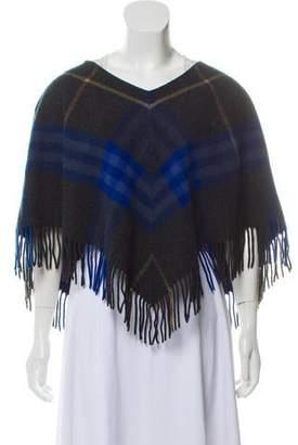 Burberry Merino Wool Fringe-Trimmed Poncho