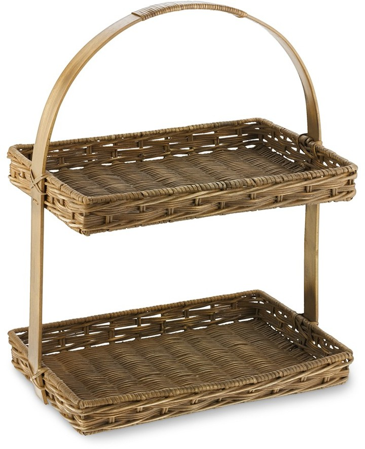 Williams-Sonoma Double Weave Rattan 2-Tiered Tray