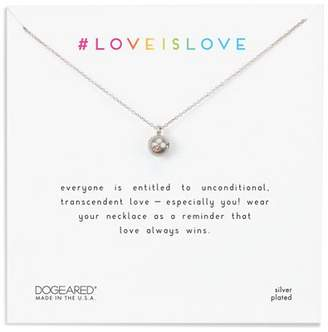 Dogeared Love Is Love Necklace in Sterling Silver, 16""