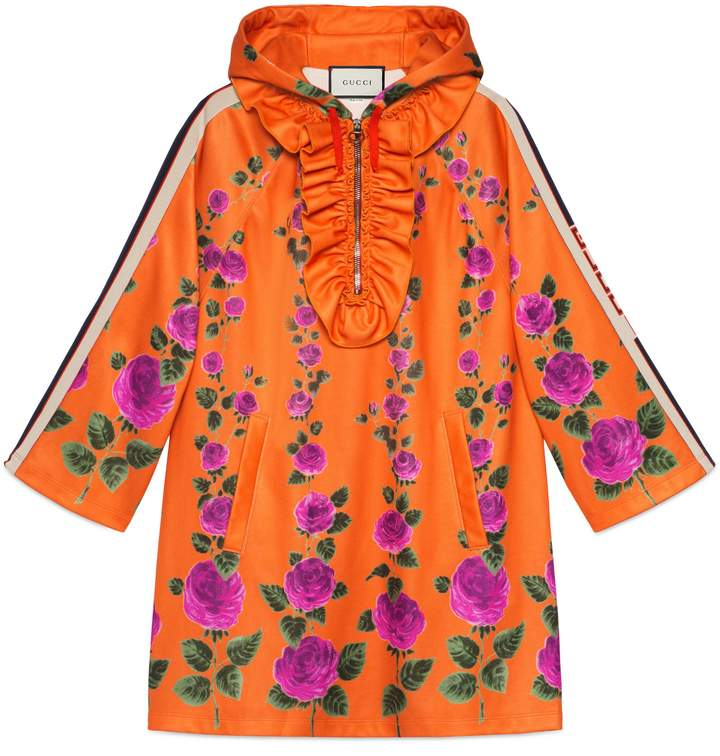Hooded Rose Garden jersey dress