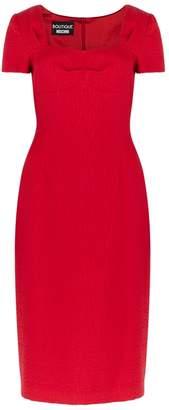 Moschino Red Textured Jacquard Dress