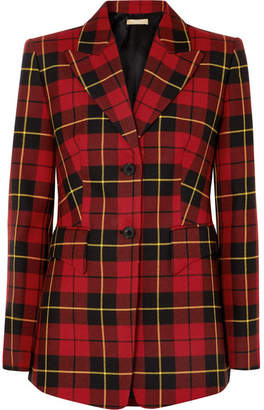 Michael Kors Tartan Wool-twill Blazer - Red
