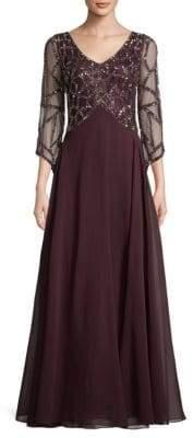 J Kara Sequin & Chiffon Floor-Length Gown