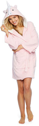 Couture Pj Robes Galore Womens-Juniors Plush Robe Long Sleeve Mid Length