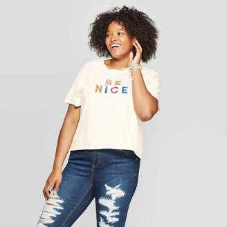 Mad Engine Women's Plus Size Short Sleeve Be Nice Cropped Graphic T-Shirt - Mighty Fine (Juniors') - Cream