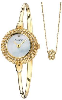 Accurist Women's Quartz Watch with Mother of Pearl Dial Analogue Display and Gold Stainless Steel Bracelet Lb1893P