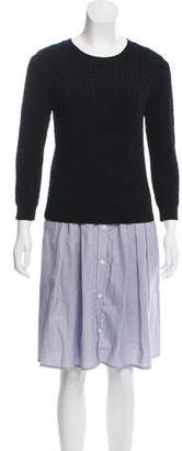 Band Of Outsiders Cable Knit Pinstriped Sweater Dress