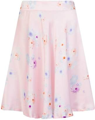 Sophie Cameron Davies - Silk Midi Skirt Pink Beach Flower