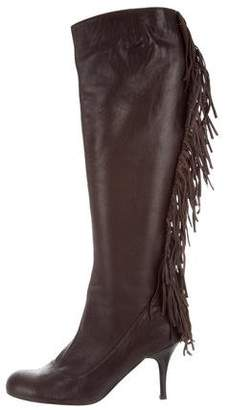 Lanvin Leather Fringed Knee-High Boots