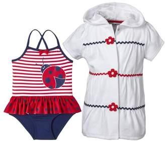 Wippette Baby Girl Swim Cover-up & Ladybug Print One Piece Ruffle Tutu Swimsuit, 2pc Set
