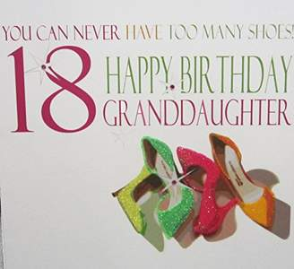 WHITE COTTON CARDS Neon Shoes You Can Never Have Too many Shoes! 18 Happy Birthday Granddaughter Handmade 18th Birthday Card, White, Large