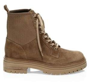 Gianvito Rossi Rib-Knit Leather Combat Boots