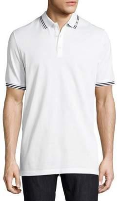 Salvatore Ferragamo Men's Tape-Tipped Short-Sleeve Polo, White