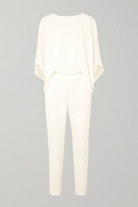 Halston Draped Crepe De Chine Jumpsuit - White