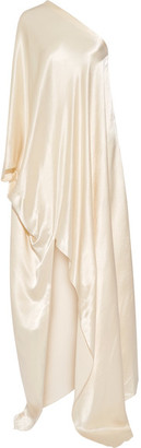 One-shoulder Washed-satin Gown - Cream