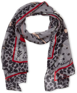 Moschino Cheap & Chic Moschino Cheap And Chic Grey Fashion Print Silk Scarf