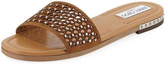 Jimmy Choo Dree Laser-Cut Flat Mule Sandal, Medium Brown