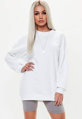 Missguided White Long Sleeve Sweat Dress