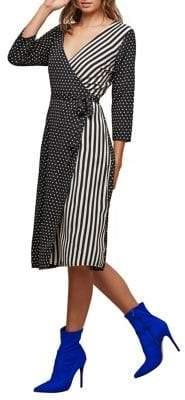 Miss Selfridge Mixed-Print Midi Wrap Dress