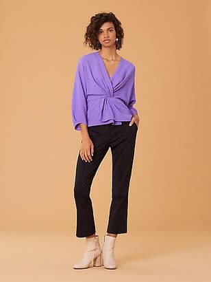 Diane von Furstenberg Long Sleeve Front Twist Blouse
