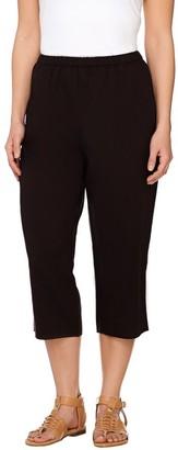 Susan Graver Linen Blend Comfort Waist Slim Capri Pants