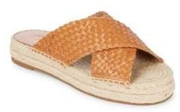 Michael Kors Destin Woven Leather Espadrille Platform Slide Sandals