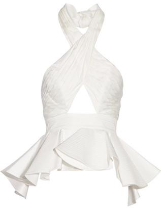 Johanna Ortiz - Corinto Cutout Ruffled Cotton-poplin Halterneck Top - White