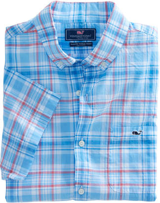 Vineyard Vines Short-Sleeve Fire Road Plaid Slim Tucker Shirt