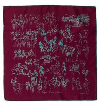 Hermes Croquis Champs De Course Silk Pocket Square