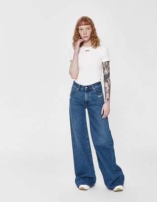 Off-White Off White Denim Straight Leg Jean in Medium Blue Wash