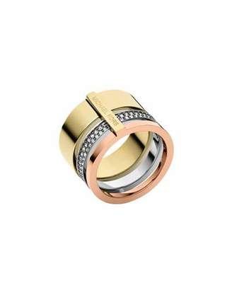 Michael Kors Tricolor Pave Barrel Ring