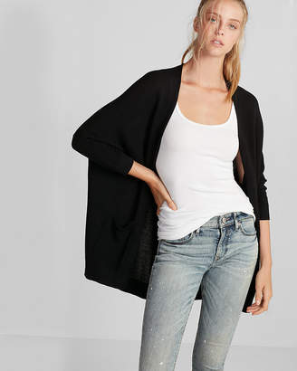 Express Textured Drop Shoulder Open Cover-Up
