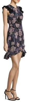 Three floor Paradiso Floral Ruffle Fitted Dress