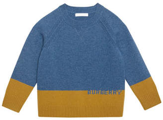 Burberry Alister Colorblock Cashmere Sweater, Size 3-14