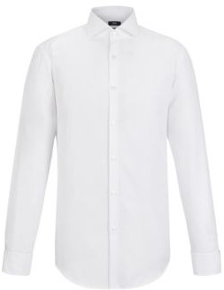 BOSS Hugo Cotton Dress Shirt, Slim Fit Jaiden 14.5 White