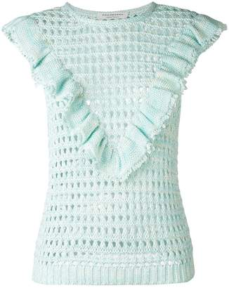Philosophy di Lorenzo Serafini ruffle trim open-knit top