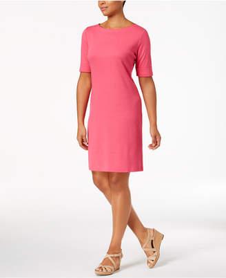 Karen Scott Petite Cotton Boat-Neck Shift Dress