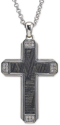 Esquire Men's Jewelry Diamond (1/4 ct. t.w.) & Meteorite Cross Pendant Necklace in Sterling Silver