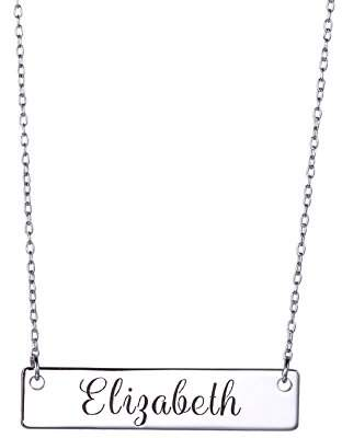 Sterling Silver Personalized Bar Necklace