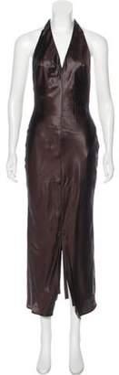 Richard Tyler Maxi Halter Dress Brown Maxi Halter Dress