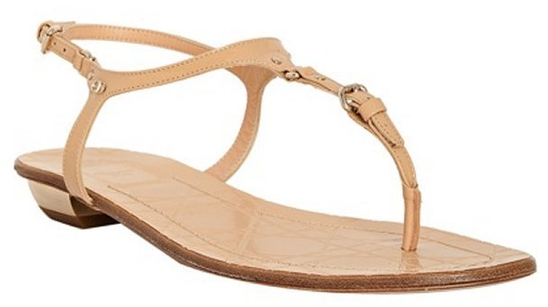 Christian Dior nude patent leather 'Sweet' flat thong sandals