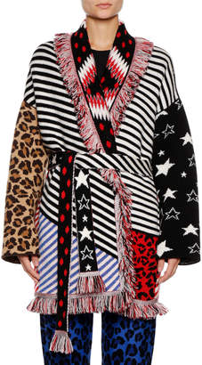 Alanui Crazy Stripe Cashmere-Blend Cardigan